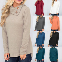 S-2XL autumn winter pure color t shirt casual leisure womens long sleeve tops shirts