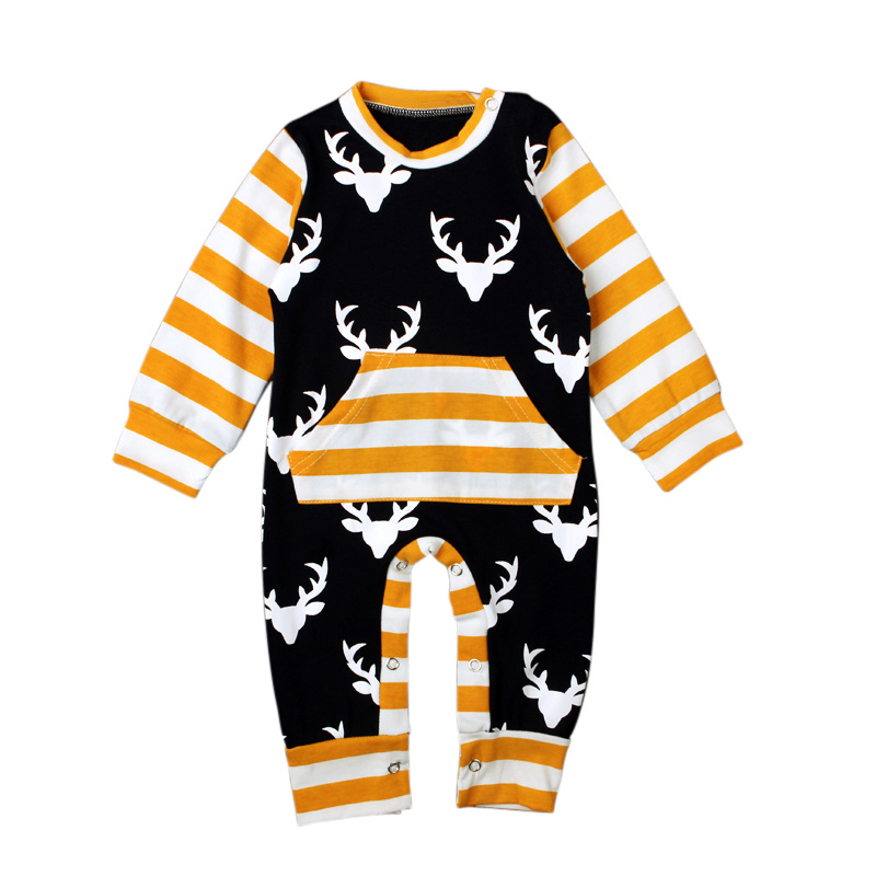 Unisex Baby Rompers Christmas Costumes Baby Long Sleeve Romper Striped Deer Elk Outfits Toddler Boy Girl Jumpsuit Autumn