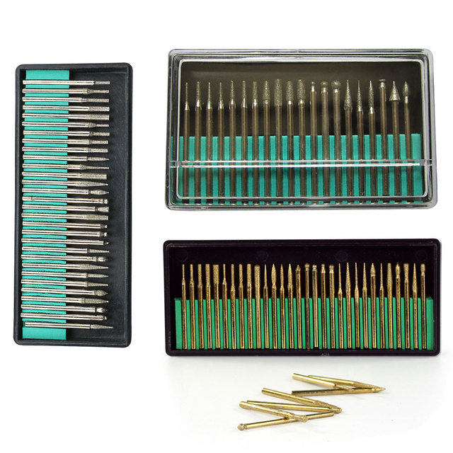 20Pcs 3mm Shank Diamond Grinding Burr Needle Point Engraving Carving Polishing Glass Jade Stone Drill Bit Rotary Tool Set