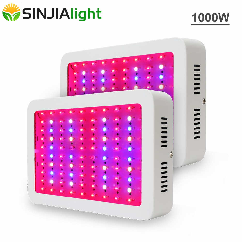 2pcs/lot 1000W Double Chip LED Grow Lights Full Spectrum Growing Lamps for Greenhouse Hydroponics Grow Tent Indoor Plant Light led grow light 300w 450w smd 600w 1000w double chips full spectrum 410 730nm plant grow lamps for hydroponics indoor grow box