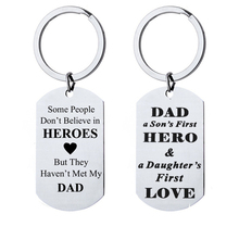 Stainless Steel Key Chain Lettering Military Dad a Sons First Hero Keychain Fathers Day Lovely Gifts