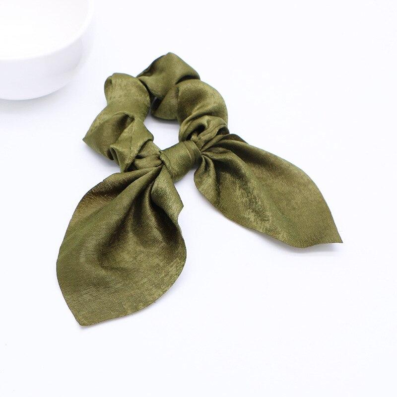 Новинка года. Модные резинки для волос с бантом. Резинки для волос для девочек. Резинки для волос в виде конского хвоста. Аксессуары для волос - Цвет: D Green