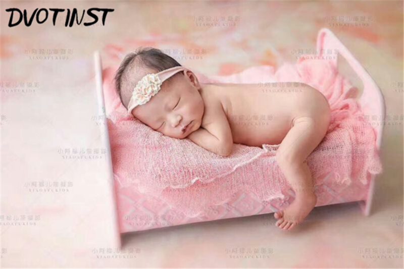 Dvotinst Newborn Baby Photography Props Iron Bed Shower Gift Fotografia Accessories Infantil Toddler Studio Shooting Photo Props newborn baby photography props infant knit crochet costume peacock photo prop costume headband hat clothes set baby shower gift