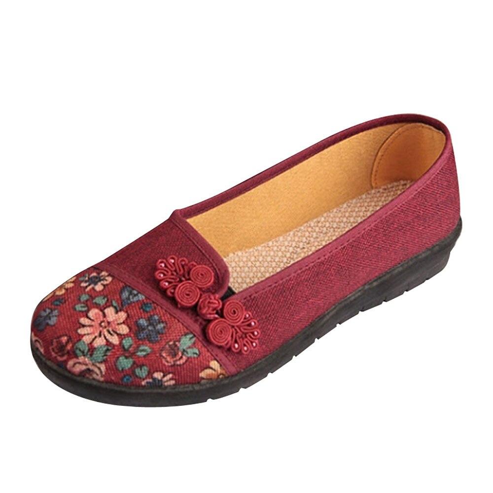 Women Shallow Broken Flower Round Toe Anti Skidding Cloth Shoes Casual Shoes 2018 New women casual flat shoes woman terlik 9