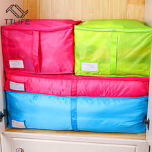 TTLIFE Multicolor Portable Clothes Storage Bag Save Space Wardrobe Closet Organizer For Quilt Blanket Pillow Zipped Laundry