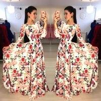 Newest Hot Women Floral Print Long Sleeve Boho Autumn 2018 Lady Evening Party Long Maxi Dress