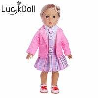 Новые поступления кампуса платье 1 комплект = пальто + рубашка + юбка + галстук + обувь подходит 18 дюймов American Girl кукла, дети лучший подарок на д...