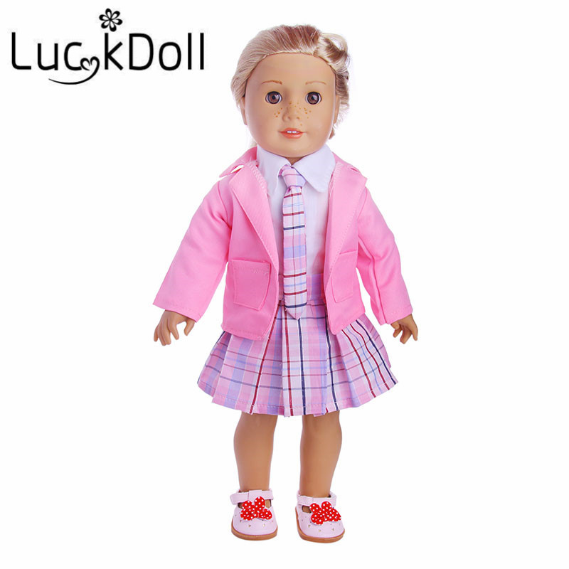 2 Colors Campus Dress 1 Set = Coat+Shirt+Skirt+Tie+Shoes Fit 18 Inch American&43CM Baby Doll Clothes Accessories,Toys,Generation