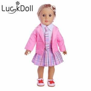 2 cores campus vestido 1 conjunto = casaco + camisa + saia + gravata + sapatos caber 18 Polegada american & 43 cm bebê boneca roupas acessórios, brinquedos, geração