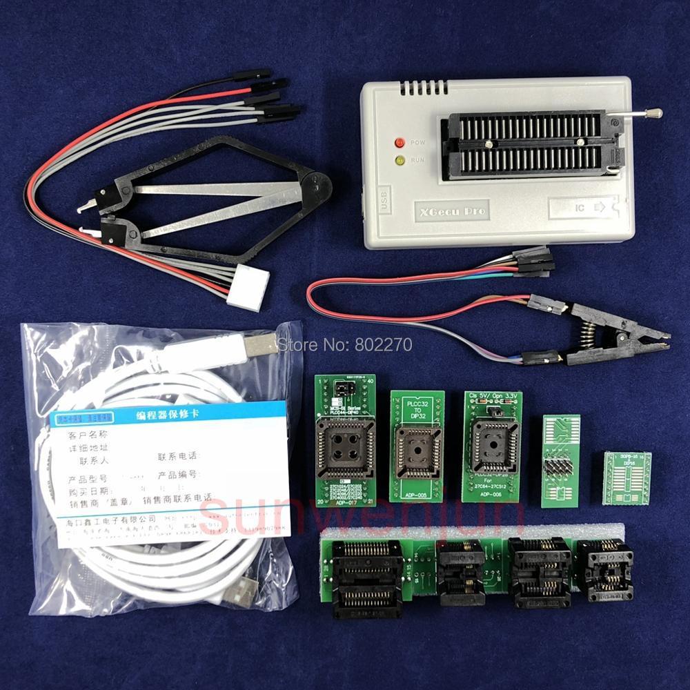 Black Edition V8.11 XGecu TL866II Plus Programmateur USB 15000 + IC SPI Flash NAND EEPROM MCU PIC AVR + 9 pièces ADAPTATEUR + SOIC8 Testclip