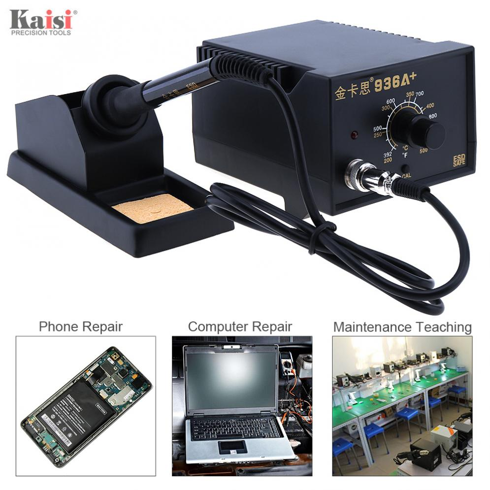 Kaisi New <font><b>936A</b></font>+ 220V 60W Adjustable Constant Temperature Soldering Station with Soldering Iron and Iron Holder for Welding image