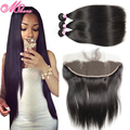 Alimoda Hair Ear To Ear Lace Frontal Closure With Bundles 13x4 Lace Front Closures Malaysian Straight Hair Weave Human Hair