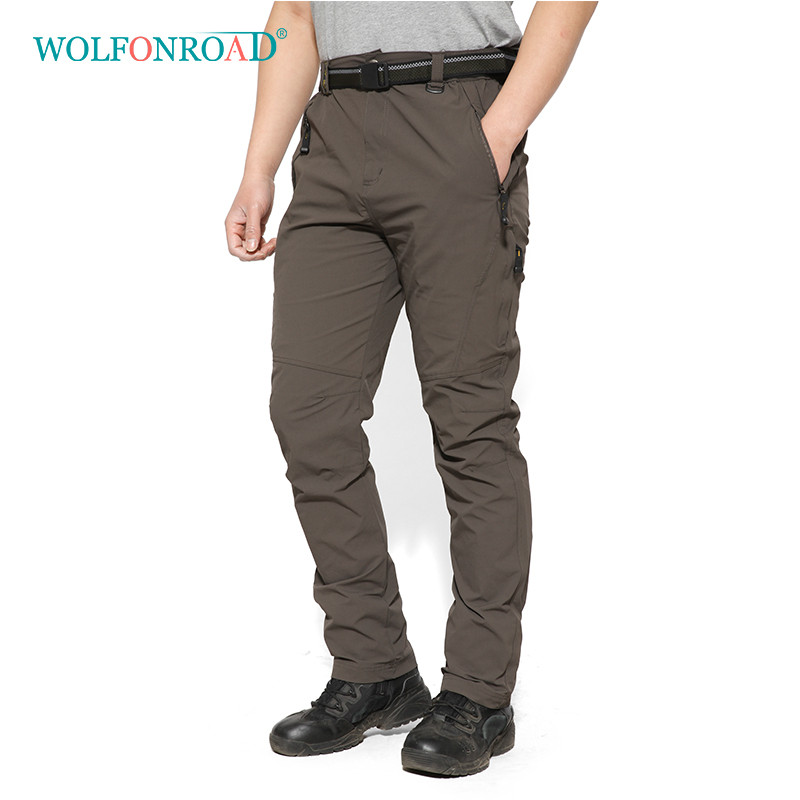 WOLFONROAD Men Quick Dry Pants Hiking Breathable Spring Camping Trousers Mountaineering Big Size Pants L-SSLMM-001 durable dabbling camouflage trousers size l