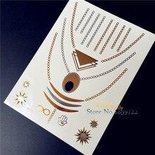 1PC Glitter Gold Silver Metallic Tattoo Men Women Makeup YS13 Indian Sun Hamsa Hand Necklace Waterproof Temporary Tattoo Sticker