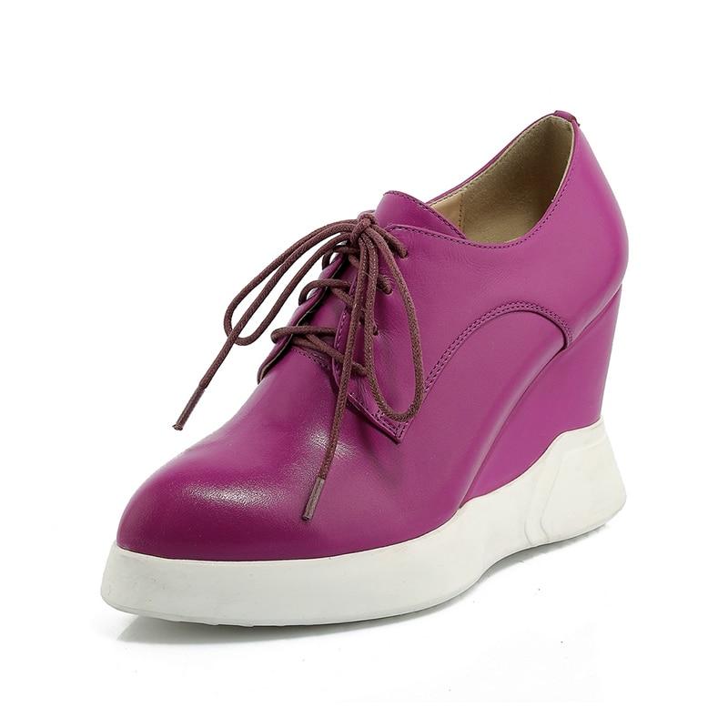 Dropship Encaje Alto Negro Genuino Calidad rojo Zapatos Moda Nuevo púrpura Vaca Las 2019 De Tacón Casuales Mujeres Alta Cuero Cuñas Xqwt6pWg