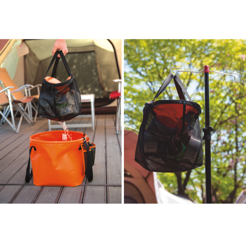 Outdoor Folding Bucket Double Dewatering Basket Washing Dishes Camping Telescopic Fishing Gear Bag