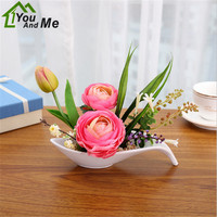 1 Set Artificial Silk Peony Flower Bonsai With White Plastic Potted Floral Decor Wedding Party Christmas