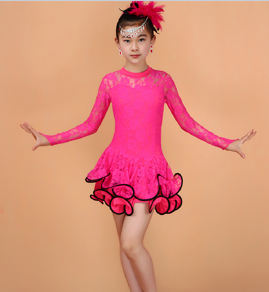 3-15Y Kids Latin Dresses Ballroom Dance Dress For Girls Salsa Dance Costume Latin Skirt School Samba Carnival Costumes For Sale