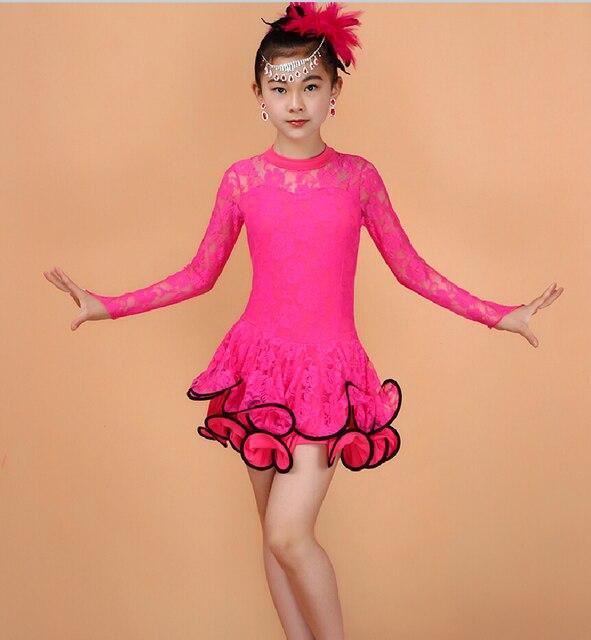 0ee84ff9 US $11.69 10% OFF 3 15Y dzieci Latin sukienki tańca towarzyskiego sukienka  do tańca dla dziewczynek Salsa kostium taneczny łacińskiej spódnica ...