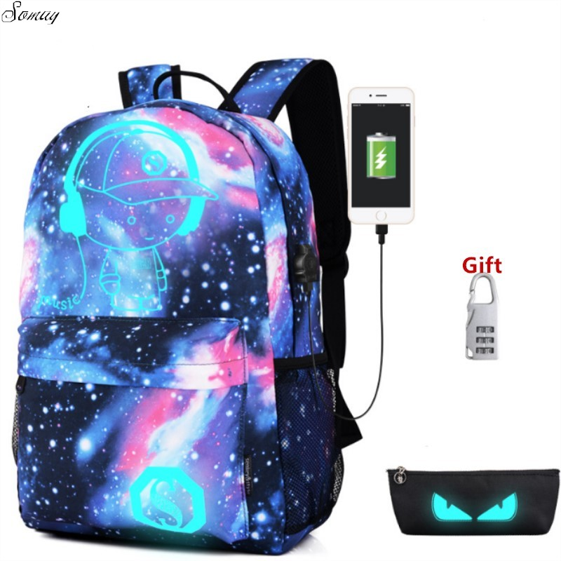 Night Star Luminous Backpack Multifunction Unisex Cartoon School Bags travel Bag Student Rucksack with USB Charger backpack