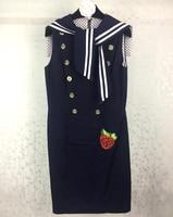 Navy Blue Dress 2017 Summer Dress Women Runway Dresses Sailor Collar