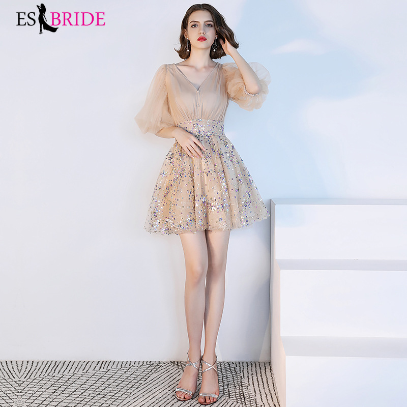 Fashion Elegant Women Evening Dresses Half Sleeve Sexy Robe De Soiree A line Lace Appliques Tulle Party Evening Dress ES1691 in Evening Dresses from Weddings Events