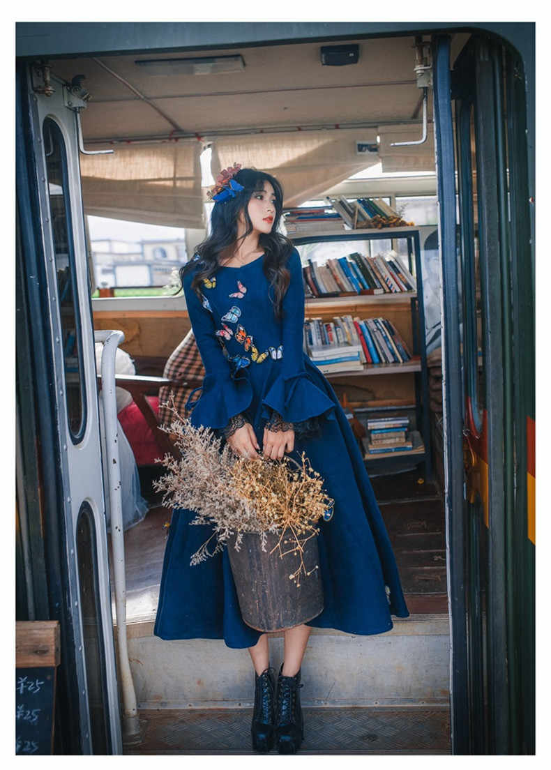 Высокое качество взрывы Досуг Ретро Шерсть соответствующие платья для женщин Весна Осень Повседневное платье