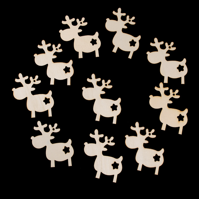 10pcs/pack DIY Christmas Deer Head Reindeer Xmas Tree Hanging Wooden Pendants Ornaments Party Decorations for Home Kids Gifts