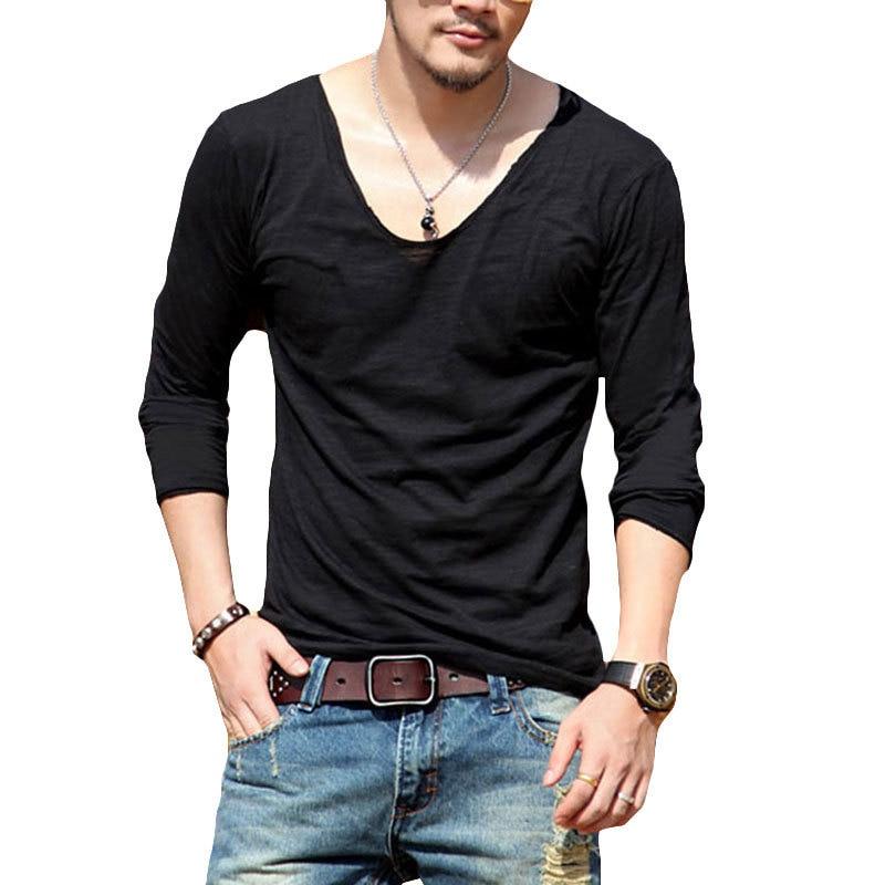 classic cute cheap huge range of Plus Size Deep V Neck T Shirt Men Long Sleeve T Shirts ...