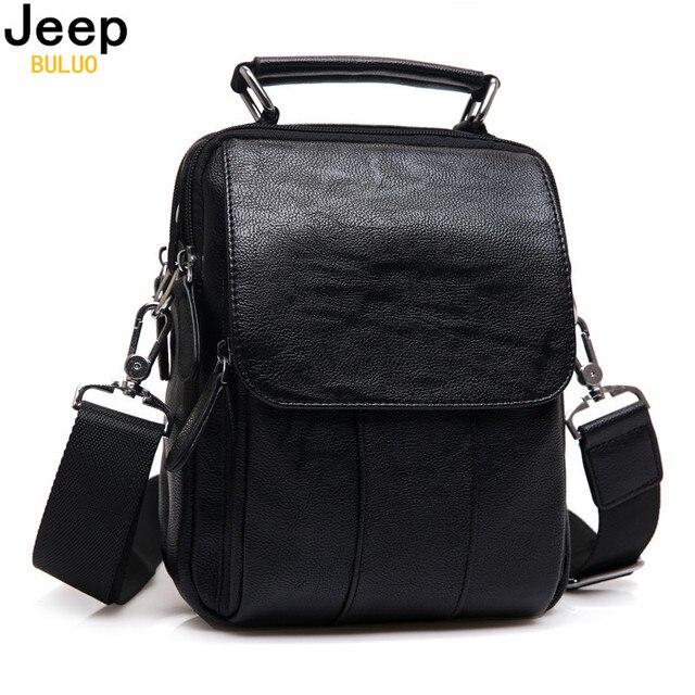 Genuine Leather Men Handbag JEEP BULUO Original Brand Handle Tote Small Chest Bag For Male Black Real Leather Messenger Bag 8011