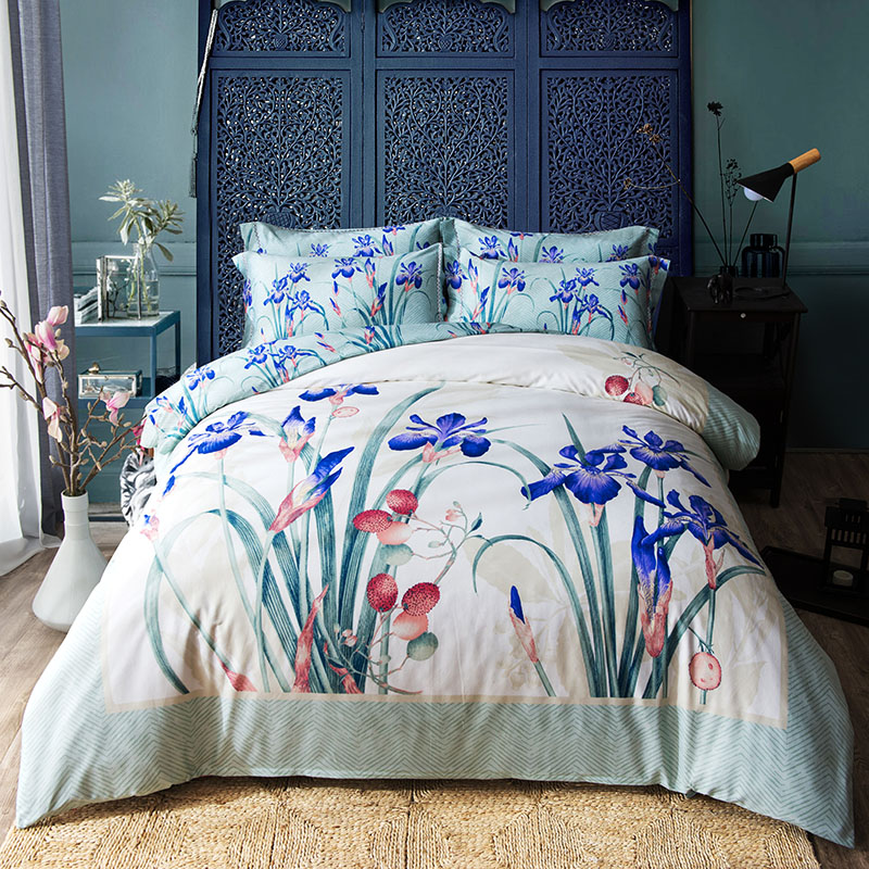 Papa Mima Brief Light Green Floral Bedding Set 4pcs Queen King Size Bedlinens Four Seasons Duvet