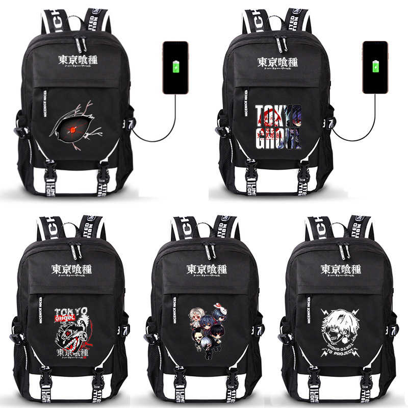 Anime Tokyo Ghoul Kaneki Ken Canvas Backpack Casual Travel Bag Laptop Rucksack