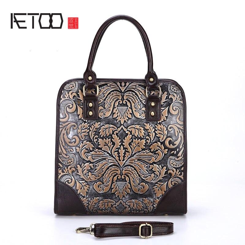 AETOO Le nouveau rétro sac à main en cuir d'épaule sac frotter couleur d'artisanat en relief sacs à main portable porte-documents