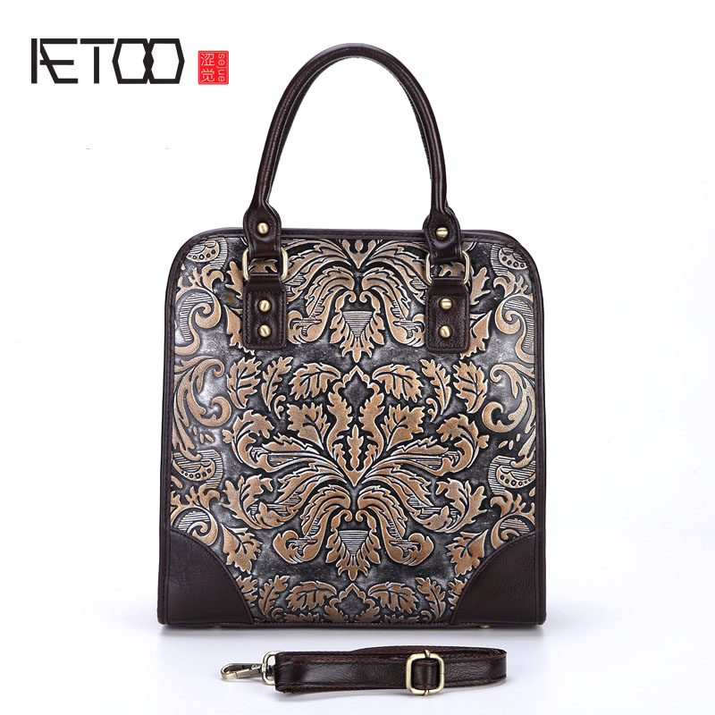 AETOO The new retro leather hand bag shoulder bag rub color embossed craft handbags portable briefcase