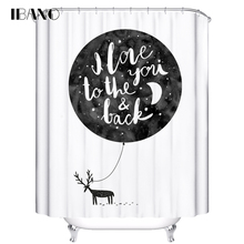 IBANO Shower Curtain Moon Pattern Customized Bath Curtain Waterproof Polyester Fabric Curtain For The Bathroom With 12pcs Hooks animal pattern shower curtain with 12pcs hook