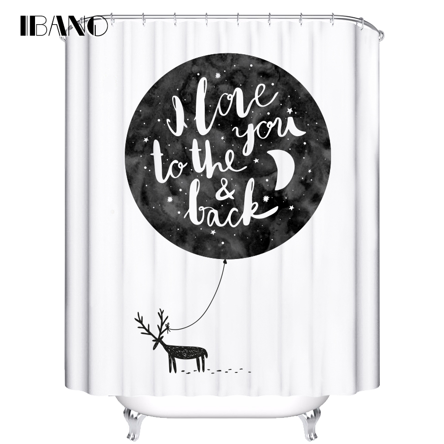 IBANO Shower Curtain Moon Pattern Customized Bath Curtain Waterproof Polyester Fabric Curtain For The Bathroom With 12pcs Hooks