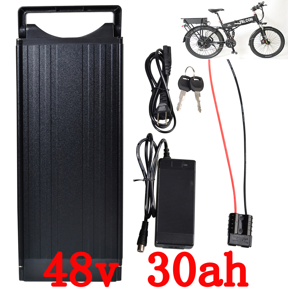 EU US no tax 1200W 48V Electric Bicycle Battery 48V 30AH Lithium Battery with Tail Light use for LG 3400mah Cell 2017 liitokala 2pcs new protected for panasonic 18650 3400mah battery ncr18650b with original new pcb 3 7v