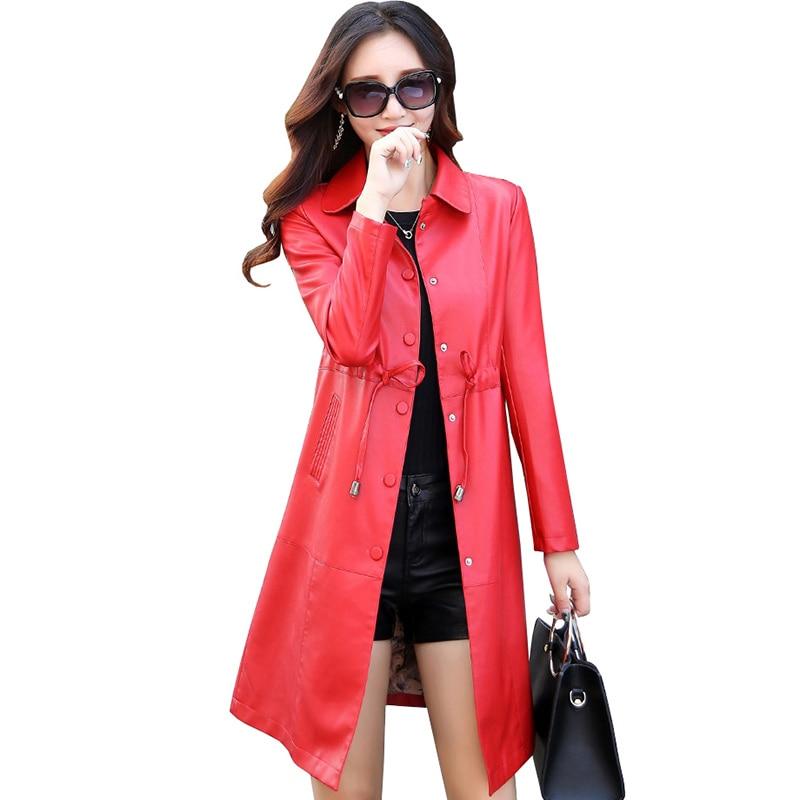 Ceinture Vestes Cuir rouge Femelle Long Hiver Longues Qh0650 Automne Vêtements À Manches Survêtement 5xl Femmes Plus Taille pourpre Manteaux Mince 2017 En Noir La txHqFwt7