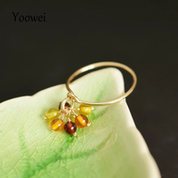 Yoowei 3.5mm Amber Chandelier Rings for Women Stunning Genuine Natural Amber Rings Handmade Trendy Tiny Dainty Jewelry Anillos