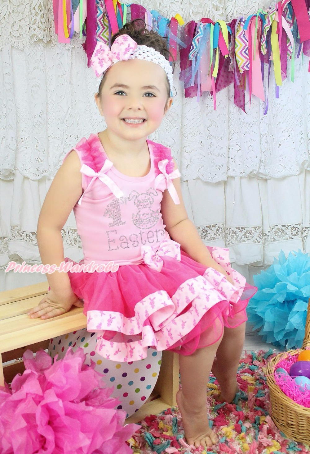 ФОТО Pink Top My 1ST Easter Egg Bunny Rabbit Satin Trim Skirt Girls Outfit Set NB-8Y