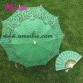 Free Shipping Green Color Battenburg Lace Parasol and Fan Set Wedding Umbrella