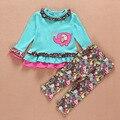 Menina infantil criança + calça ternos de manga comprida recém-nascido verão roupas de bebe