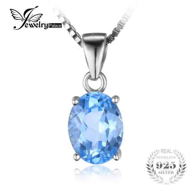 JewelryPalace Oval 2.1ct Natural Sky Blue Topaz Birthstone Solitaire Pendant 925 Sterling Silver Not Include a Chain 2016 New