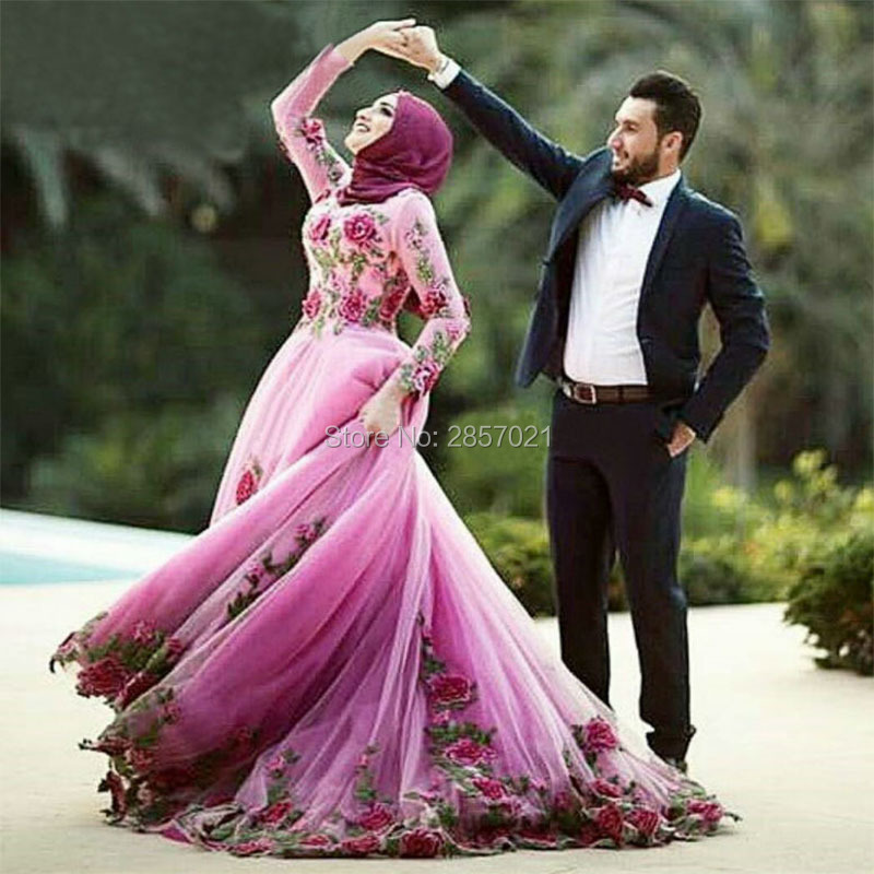 Nuevo Diseño de La Flor Vestidos De Compromiso 2017 Hijab Islámico ...