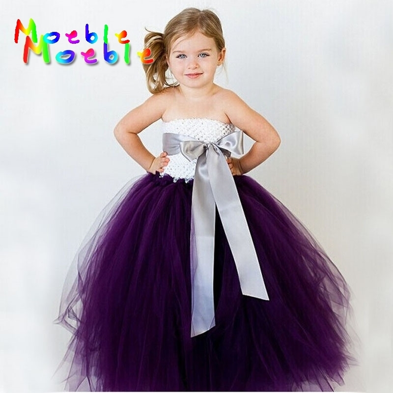 14 Color Ribbon Bow Flower Girl Tutu Dress for Birthday Wedding Party Festival Teenagers Tulle Dresses Princess Vestido Infantil 2017 fashion summer hot sales kid girls princess dress toddler baby party tutu lace bow flower dresses fashion vestido
