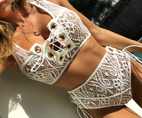 Ariel Sarah Brand Lace High Waist Bikini Set 2017 Solid Swimsuit Swimwear Chest Bandage Bathing Suit