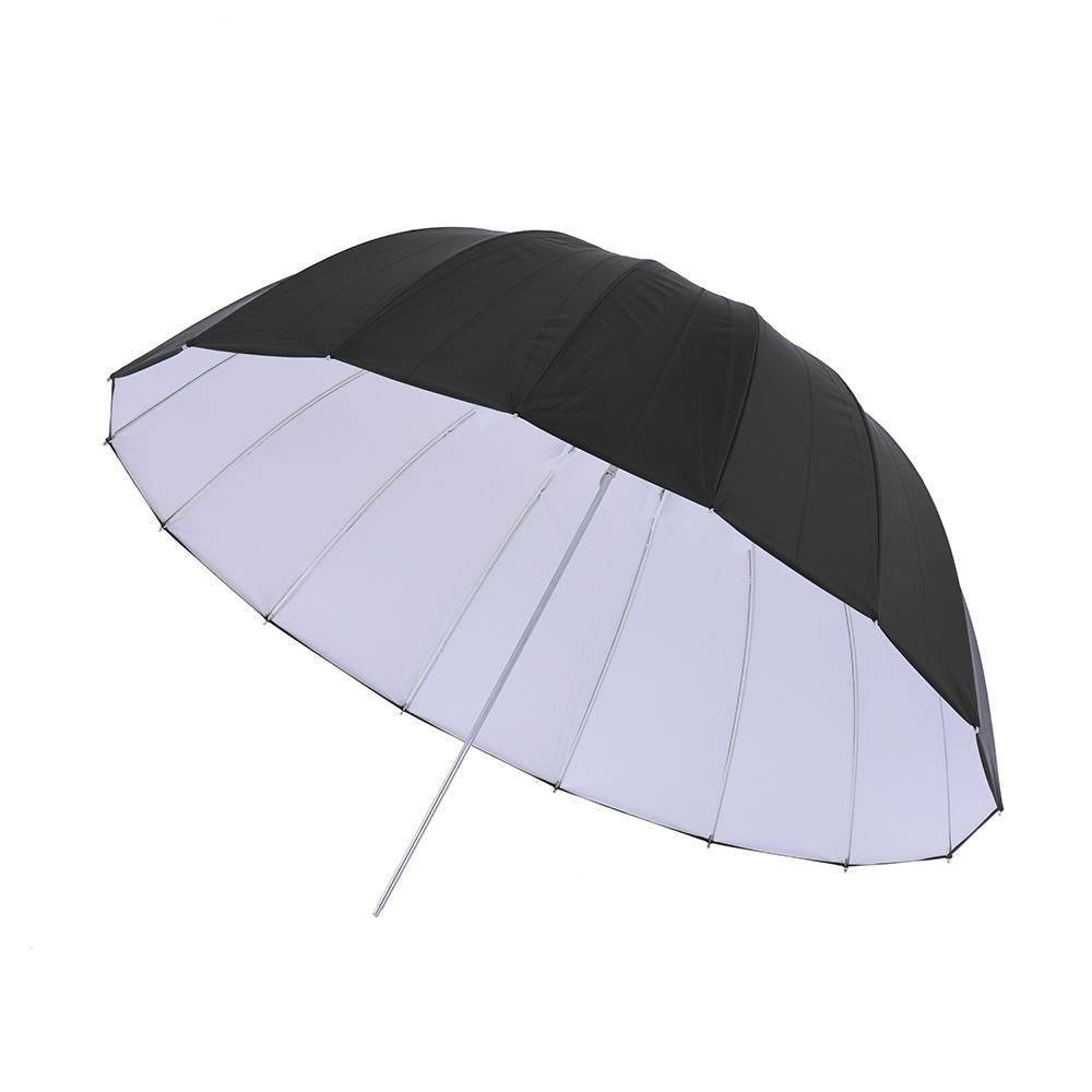 """Prix pour 130 cm/51.2 """"Caoutchouc Blanc et Noir Parapluie Réfléchissant 16 En Fiber De Verre Côtes pour Studio Photographie"""