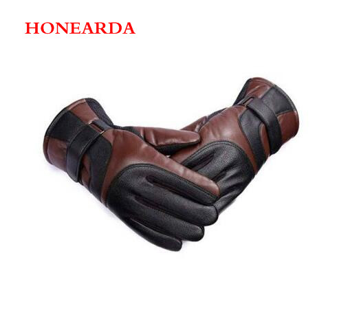 200Pair Outdoor Warm Fur Thickening Thermal Patchwork Gloves Men Sheepskin Gloves Genuine Leather Glove For Men Winter