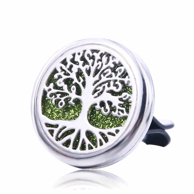 Tree of Life Car Air Diffuser Stainless Steel Vent Freshener Car Essential Oil Diffuser Perfume Aromatherapy Necklace Locket