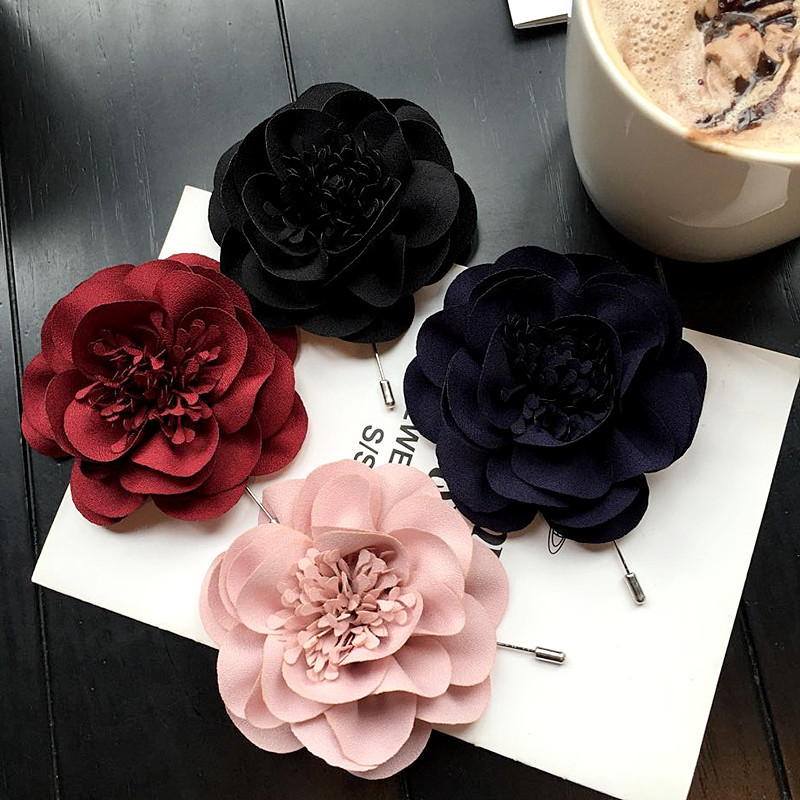 Korea New Handmade Modern Fabric Flower Brooches Pins Badges Fashion Jewelry For Woman Accessories YHGWBH007F in Brooches from Jewelry Accessories